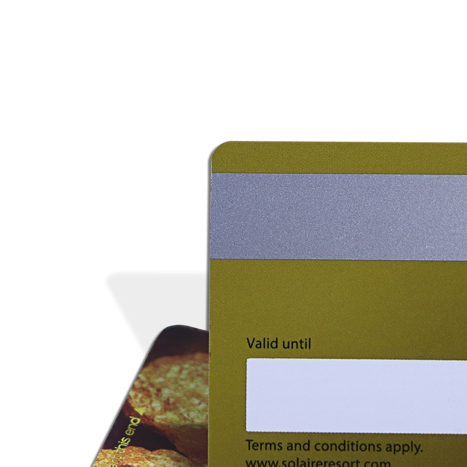 plastic card with silver magnetic stripe