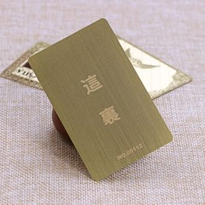 Custom shaped brushed rose gold metal contactless ic card