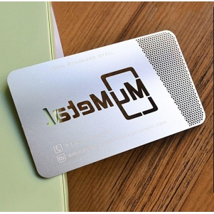 Custom die cut stainless steel metal card