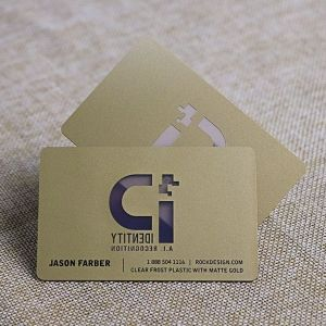 Die Cut Clear Frost Plastic With Matte Gold Transparent Card