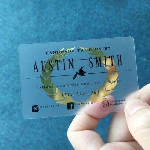 CR80 Clear Plastic Printed Gold Foil Transparent PVC Card