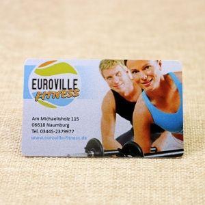 Glossy Finish Printed Health Club PVC Silver Metallic Business Card